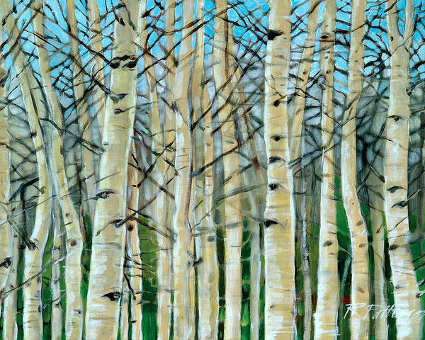 Tree Poster featuring the painting Aspen Glow by Ron Patterson