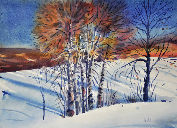 Aspen Poster featuring the painting Aspin In The Snow by Donald Maier