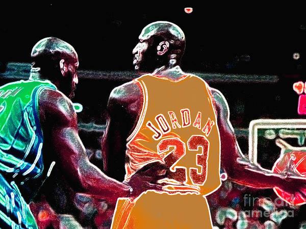 Michael Jordan Poster featuring the digital art Assist by Brandon Ramquist
