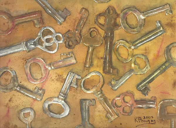 Skeleton Poster featuring the painting Assorted Skeleton Keys by Ken Powers