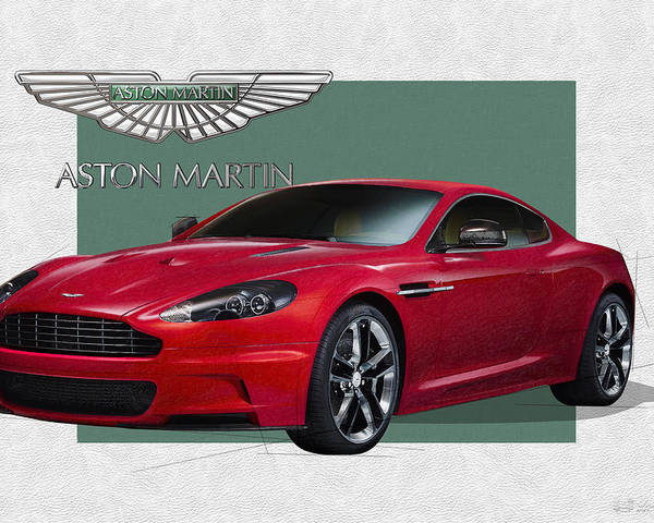 �aston Martin� By Serge Averbukh Poster featuring the photograph Aston Martin D B S V 12 with 3 D Badge by Serge Averbukh