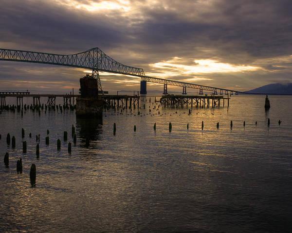 Landscape Poster featuring the photograph Astoria-megler Bridge 2 by Lee Santa