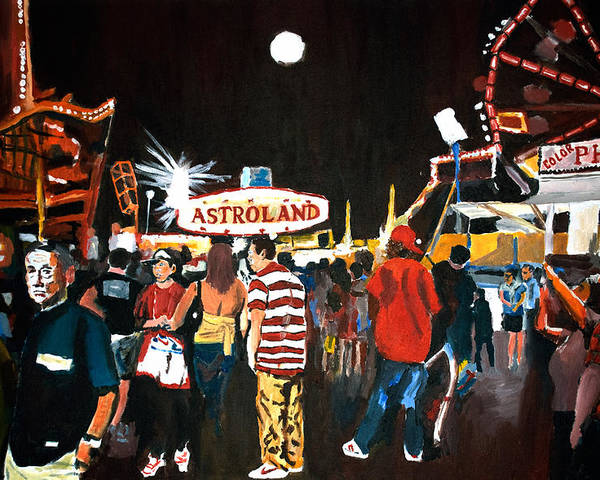 Coney Island Poster featuring the painting Astroland by Wayne Pearce