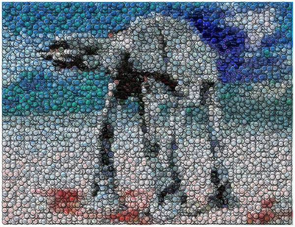 Star Wars Poster featuring the digital art At-at Bottle Cap Mosaic by Paul Van Scott