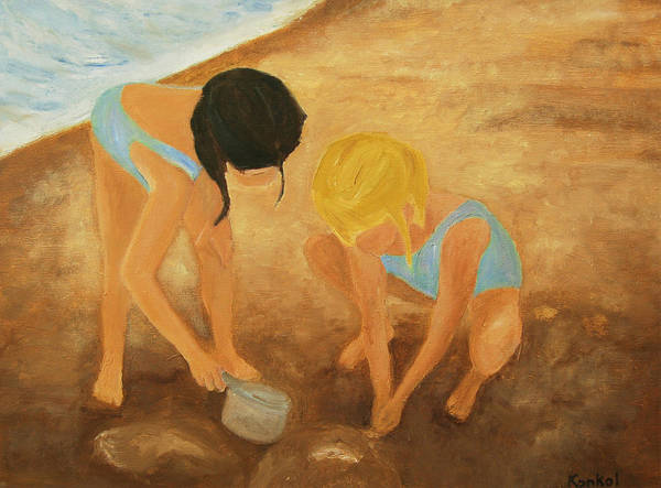 Konkol Poster featuring the painting At the Beach by Lisa Konkol