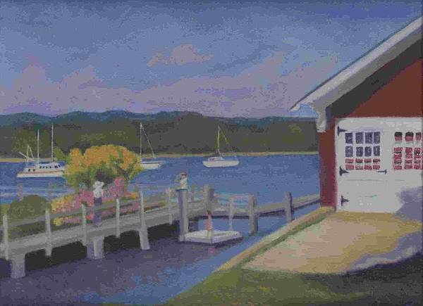Landscape Poster featuring the painting At The Dock by Paula Emery