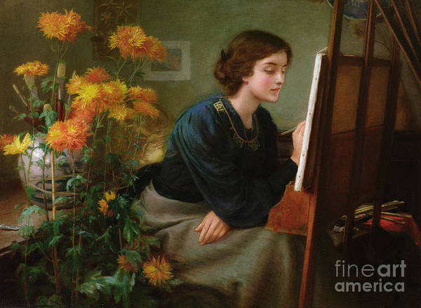 Female; Artist; Painting; Studio; Flowers; Interior; Victorian Poster featuring the painting At The Easel by James N Lee