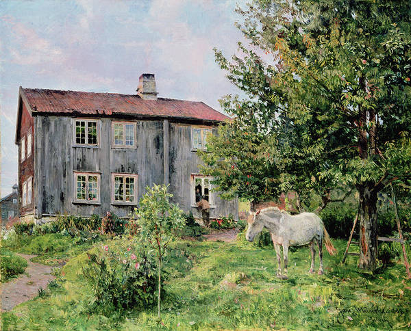 At The Farm Poster featuring the painting At The Farm by Gerhard Peter Frantz Vilhelm Munthe