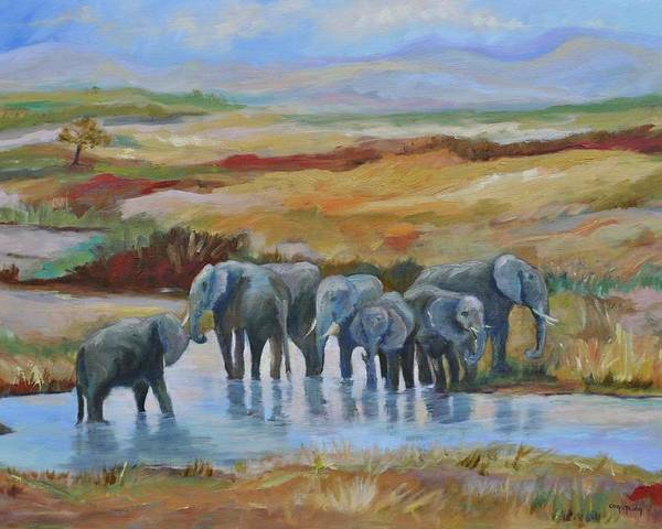 Elephants At Oasis Poster featuring the painting At the Oasis by Ginger Concepcion