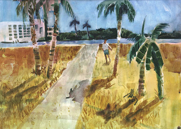Palm Trees Poster featuring the painting At Water's Edge by Thomas Tribby