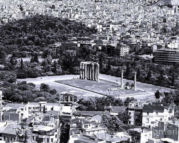 Athens Cityscape Iv Poster featuring the photograph Athens Cityscape Iv by John Rizzuto