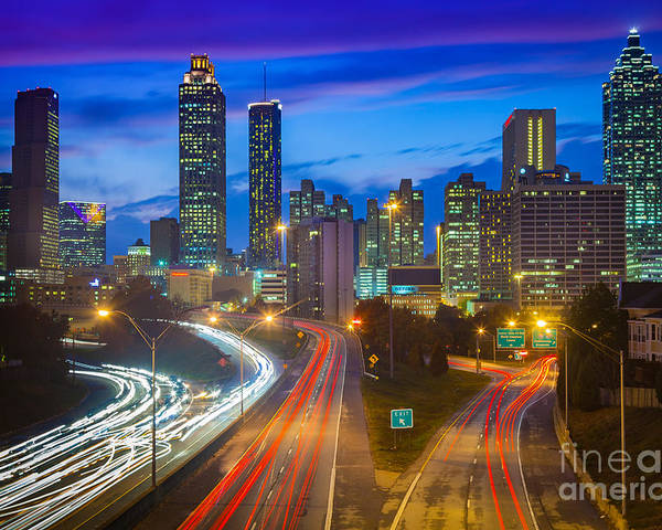 America Poster featuring the photograph Atlanta Downtown By Night by Inge Johnsson