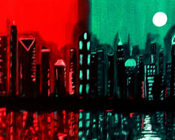 36 Inch Abstract Acrylic Nightscape Poster featuring the painting Atlanta by Linda Powell