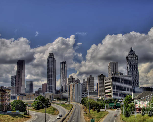 Motorcycle Art Poster featuring the photograph Atlanta Skyline by Corky Willis Atlanta Photography