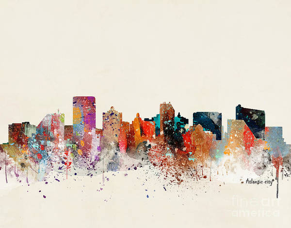 Atlantic City New Jersey Cityscape Poster featuring the painting Atlantic City New Jersey Skyline by Bri Buckley