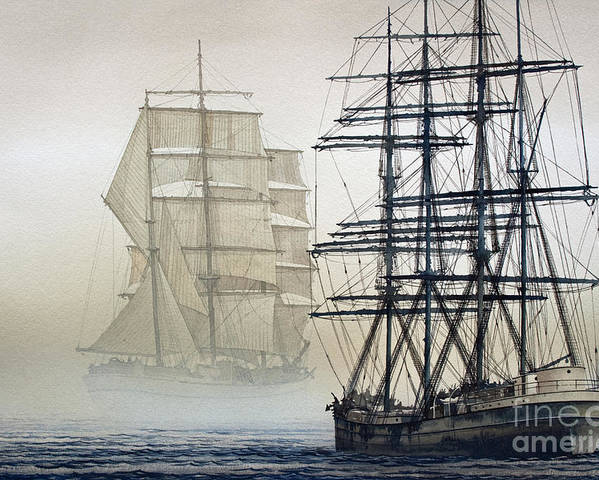 Tall Ship Print Poster featuring the painting Atlas And Inverclyde by James Williamson