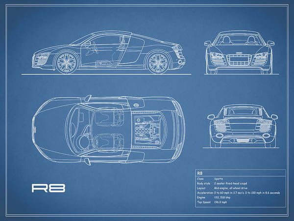 Audi r8 blueprint poster by mark rogan audi r8 poster featuring the photograph audi r8 blueprint by mark rogan malvernweather Image collections