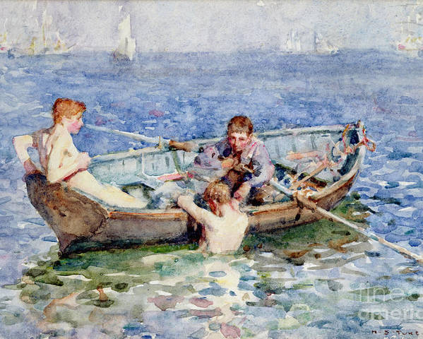 Boat Poster featuring the painting August Blue by Henry Scott Tuke