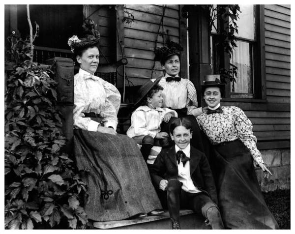 Aunt Emma Poster featuring the photograph Aunt Emma, Morris, Edith, Fred And Charles On Porch June 12, '97 by Frank Fawcett