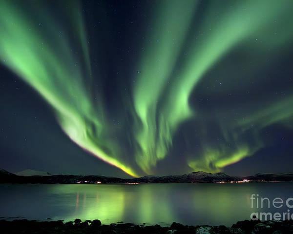 Aurora Borealis Poster featuring the photograph Aurora Borealis Over Tjeldsundet by Arild Heitmann