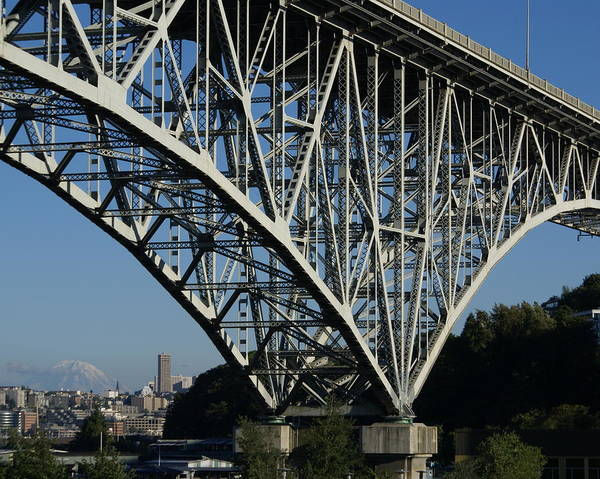 Architecture Poster featuring the photograph Aurora Bridge - Seattle by Sonja Anderson