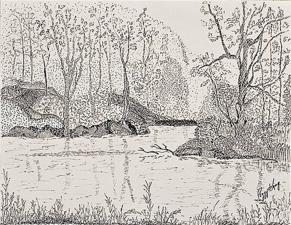 River Poster featuring the drawing Ausable River At Rock Glen by Peggy King