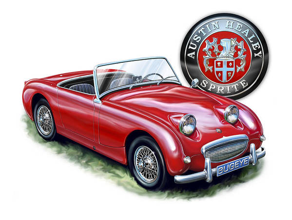 Austin Poster featuring the digital art Austin Healey Bugeye Sprite Red by David Kyte