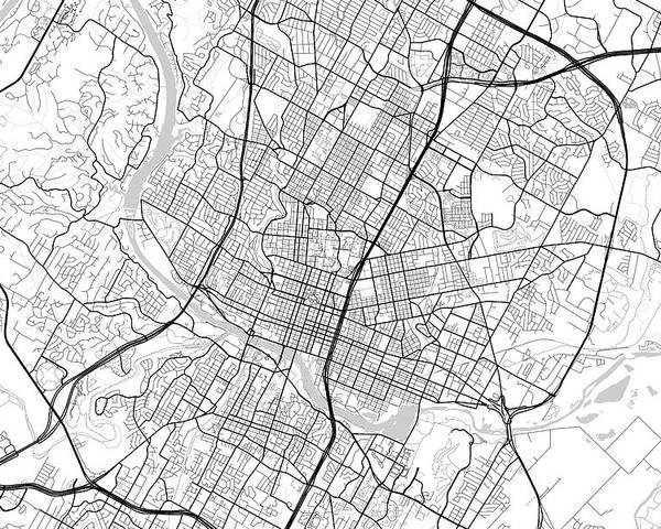 Road Map Of Austin Texas.Austin Texas Usa Light Map Poster