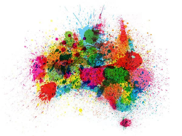 Australia Map Poster.Australia Paint Splashes Map Poster By Michael Tompsett