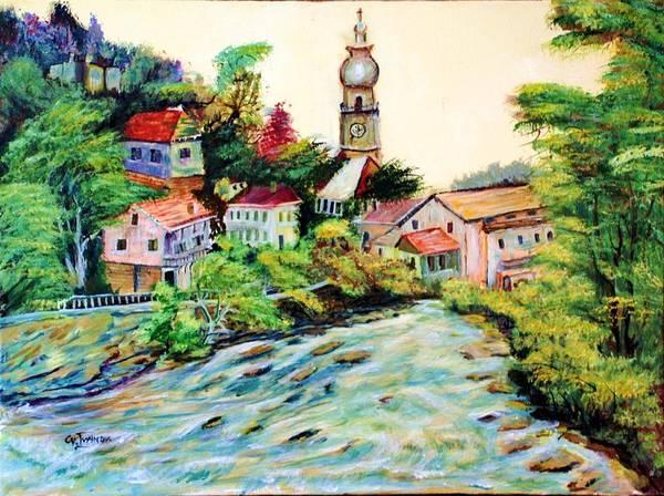 Austria Poster featuring the painting Austrian Alpine Village  by Cvetko Ivanov