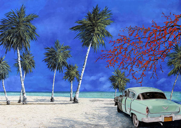 Seacsape Poster featuring the painting Auto Sulla Spiaggia by Guido Borelli