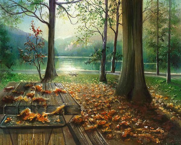 Landscape Poster featuring the painting Autum Splendor Bunzen Lake by Dumitru Barliga
