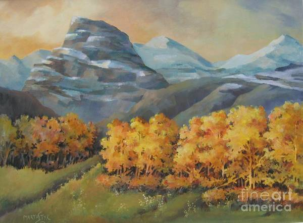 Landscape Poster featuring the painting Autumn At Kananaskis by Marta Styk