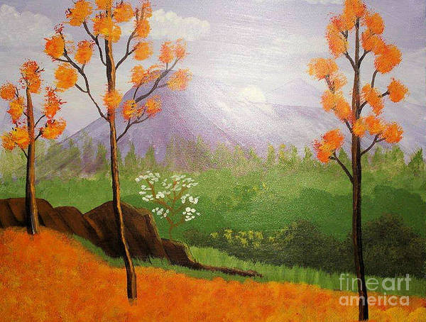 Landscape Poster featuring the drawing Autumn Countryside by Sherri Gill