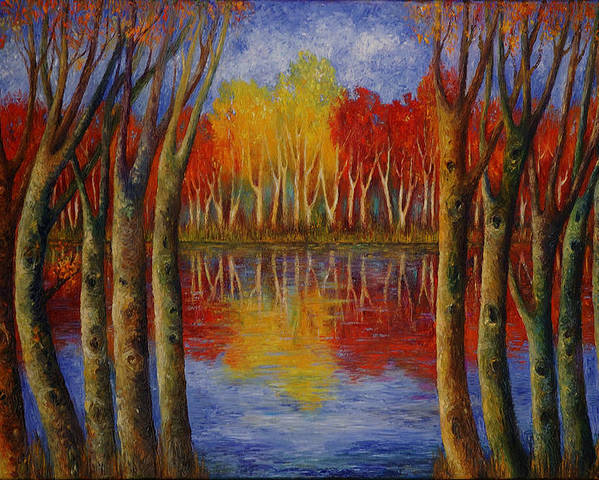 Landscape Poster featuring the painting Autumn. by Evgenia Davidov