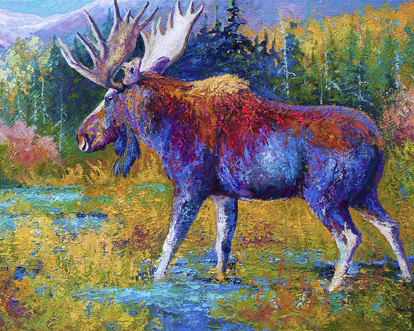 Moose Poster featuring the painting Autumn Glimpse by Marion Rose
