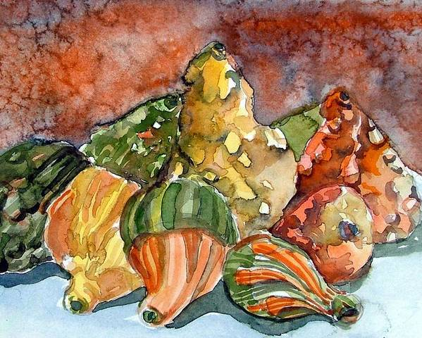 Gourds Poster featuring the painting Autumn Gourds by Mindy Newman