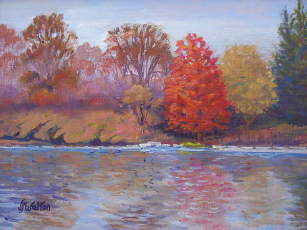 Autumn Poster featuring the painting Autumn Hanging On by Judy Fischer Walton