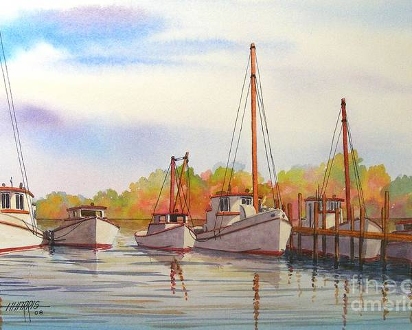 Autumn Poster featuring the painting Autumn Harbor by Hugh Harris