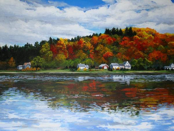 Landscape Poster featuring the painting Autumn In Vermont by Sarah Grangier