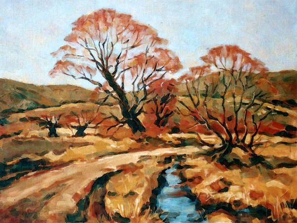 Landscape Poster featuring the painting Autumn Landscape by Iliyan Bozhanov