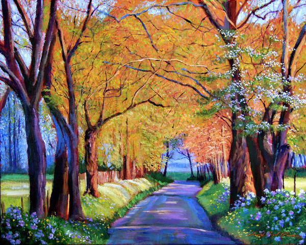 Autumn Poster featuring the painting Autumn Lane by David Lloyd Glover