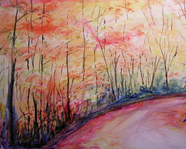 Landsape Poster featuring the painting Autumn Lane II by Lizzy Forrester