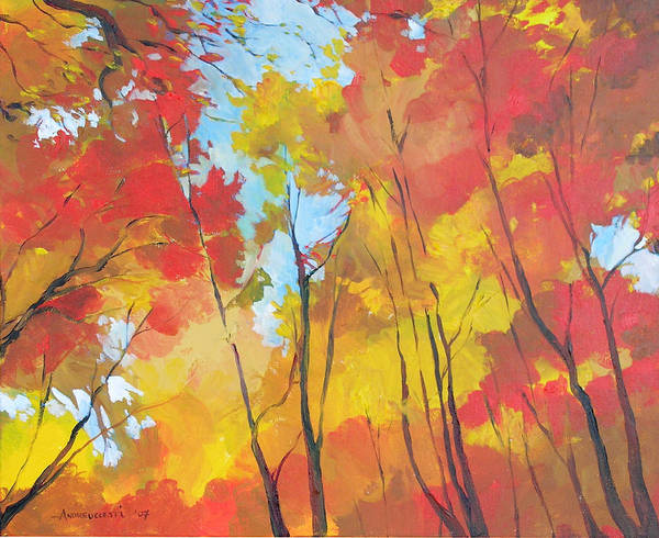 Landscape Poster featuring the painting Autumn Leaves by Alessandro Andreuccetti