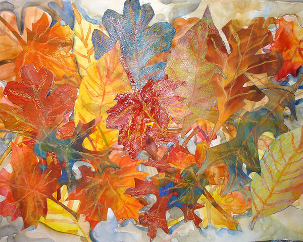 Collage Poster featuring the mixed media autumn Leaves Collage III by Joyce Kanyuk