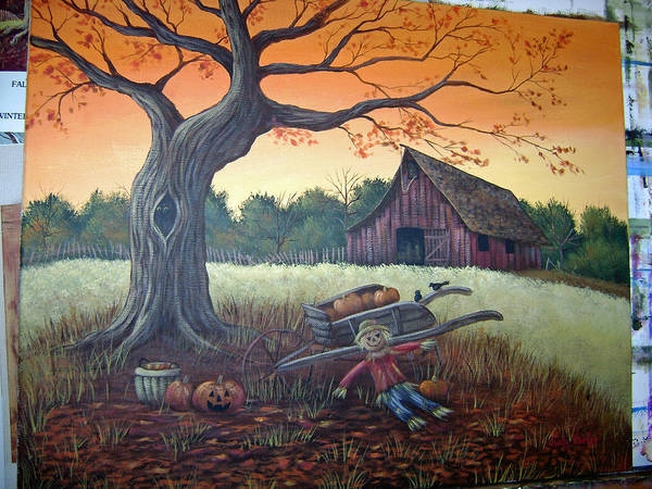 Landscape Poster featuring the painting Autumn Memories by Judy Keefer