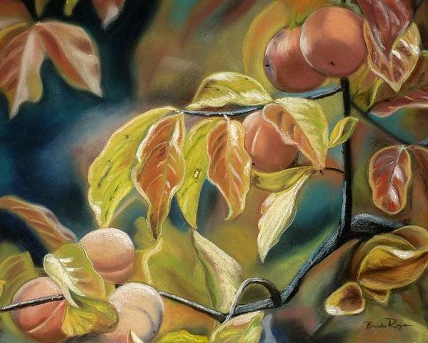 Autumn Poster featuring the painting Autumn Peaches by Brenda Williams