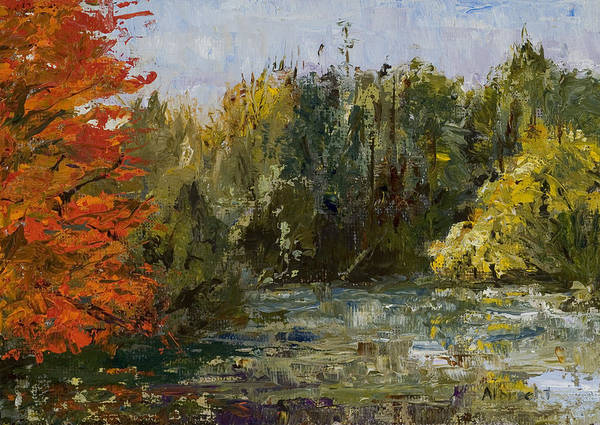 Morton Arboretum Scene Poster featuring the painting Autumn Pond by Nancy Albrecht