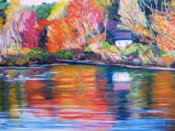 Autumn Poster featuring the painting Autumn Reflections by Richard Nowak