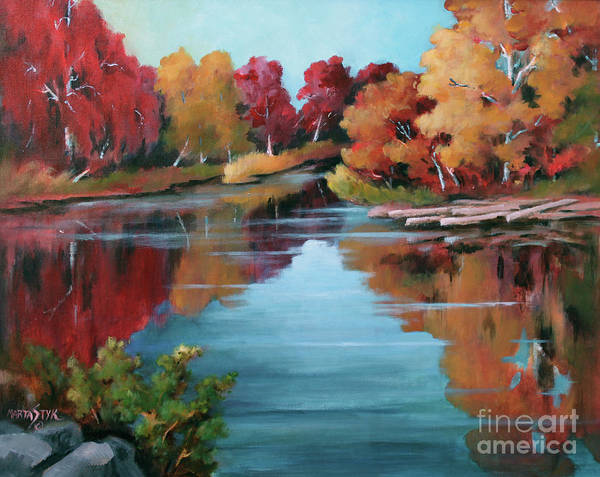 Landscape Poster featuring the painting Autumn Reflexions 1 by Marta Styk